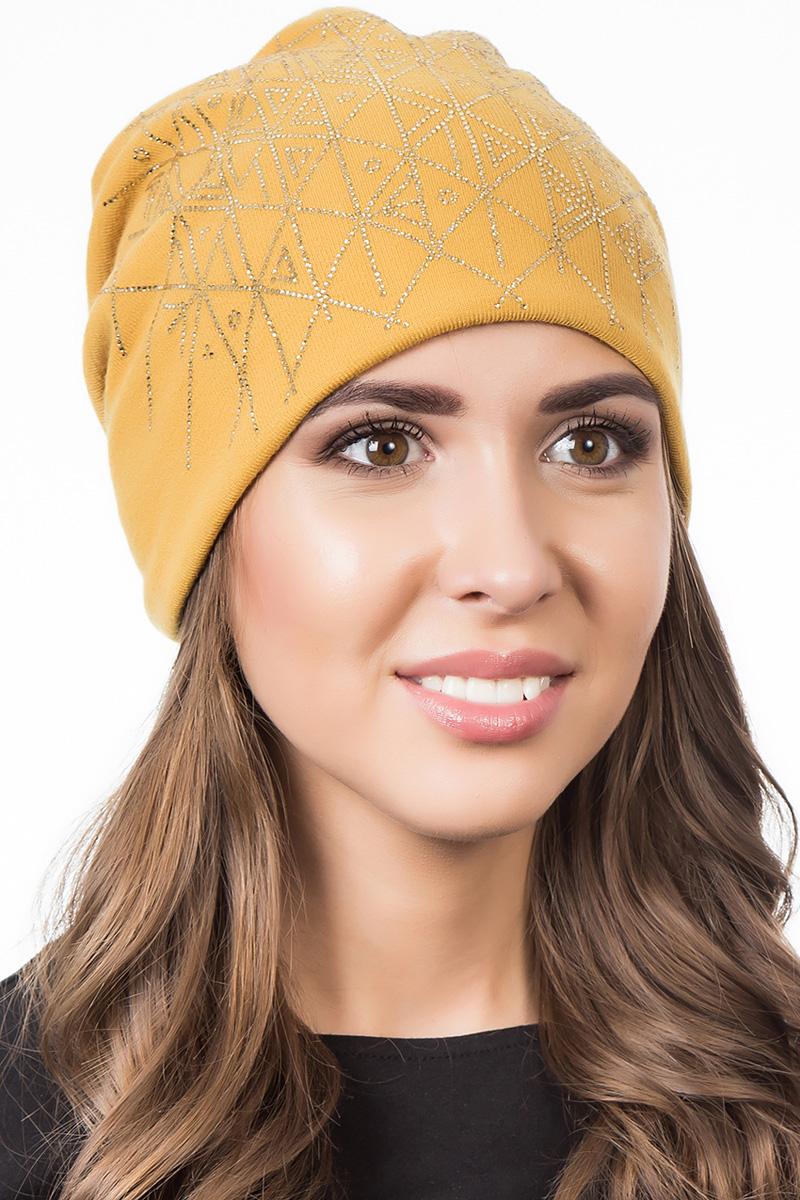 Шапка женская Level Pro Артель, цвет: горчичный. 404529. Размер 56/58404529Стильная женская шапка Level Pro дополнит ваш наряд и не позволит вам замерзнуть в холодное время года. Шапка выполнена из шерсти и полиэстера, что позволяет ей великолепно сохранять тепло и обеспечивает высокую эластичность и удобство посадки. Изделие оформлено стразами. Такая шапка составит идеальный комплект с модной верхней одеждой, в ней вам будет уютно и тепло.