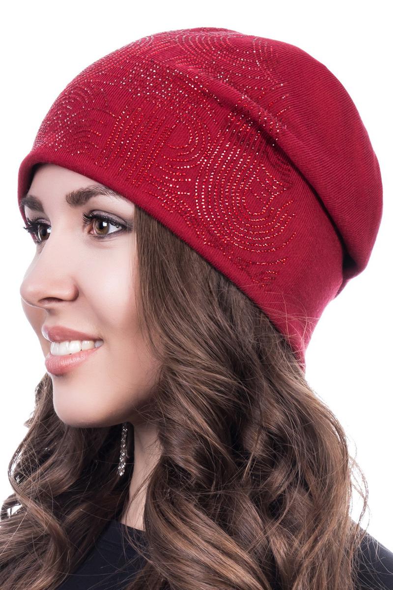 Шапка женская Level Pro Новая волна, цвет: вишневый. 402178. Размер 56/58402178Стильная женская шапка Level Pro дополнит ваш наряд и не позволит вам замерзнуть в холодное время года. Шапка на флисовой подкладке выполнена из шерсти и акрила, что позволяет ей великолепно сохранять тепло и обеспечивает высокую эластичность и удобство посадки. Изделие оформлено стразами. Такая шапка составит идеальный комплект с модной верхней одеждой, в ней вам будет уютно и тепло.