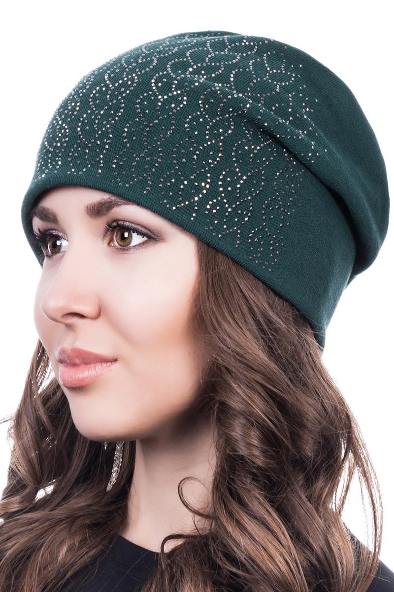 Шапка женская Level Pro Косичка, цвет: зеленый. 401514. Размер 56/58401514Стильная женская шапка Level Pro дополнит ваш наряд и не позволит вам замерзнуть в холодное время года. Шапка выполнена из шерсти с добавлением полиэстера, что позволяет ей великолепно сохранять тепло и обеспечивает высокую эластичность и удобство посадки. Сзади шапка присборена. Внутри - флисовая подкладка.Оформлена модель аппликацией из страз и на макушке дополнена большой стразой. Такая шапка составит идеальный комплект с модной верхней одеждой.