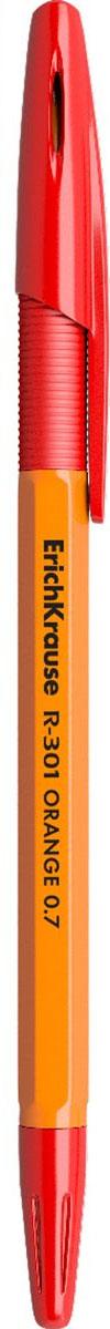 цены Erich Krause Ручка шариковая R-301 Orange 0.7 Stick&Grip красная 43189