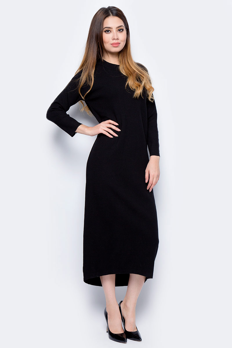 Платье жен United Colors of Benetton, цвет: черный. 14RVV1E51_100. Размер S (42/44)14RVV1E51_100