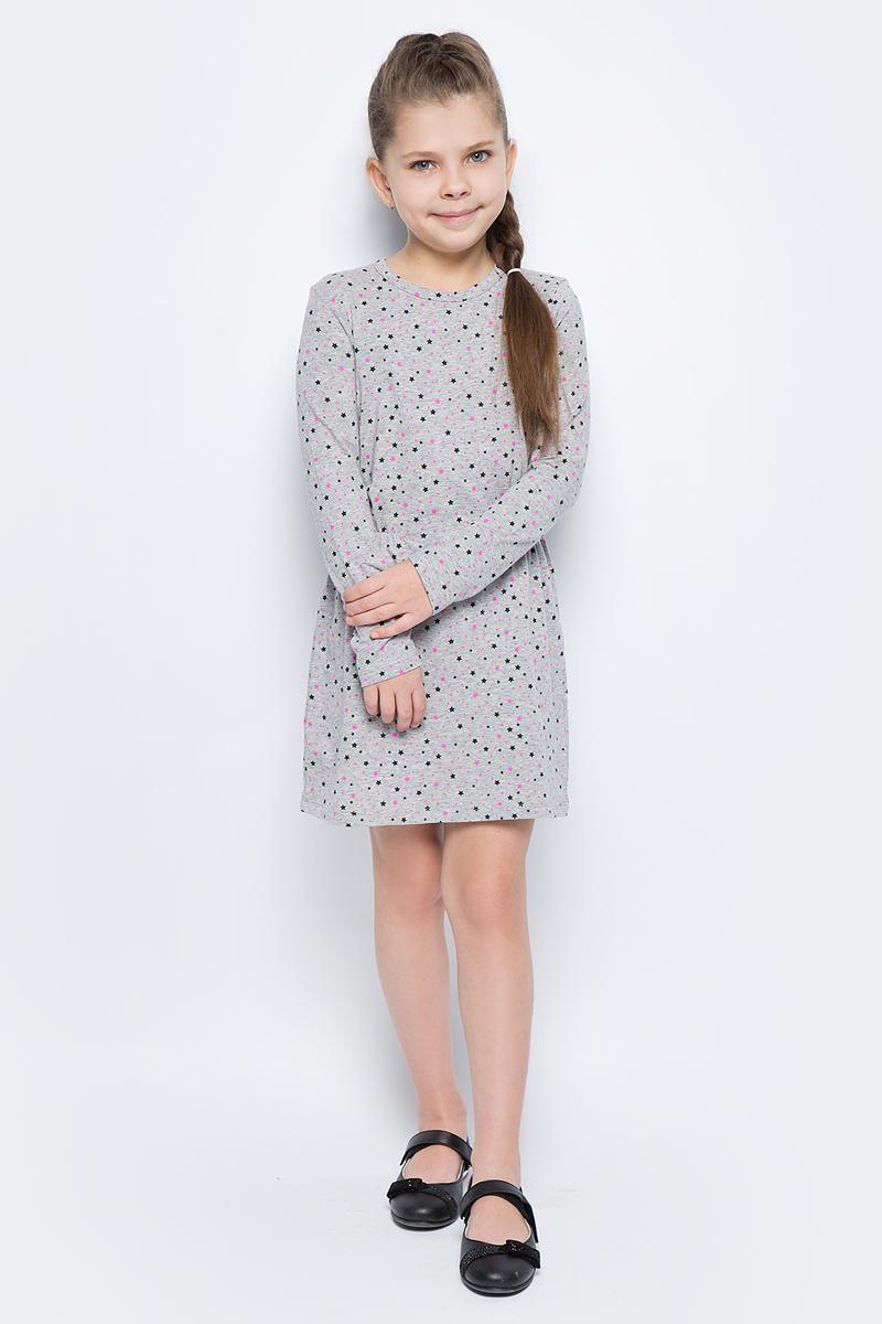 Платье для девочки United Colors of Benetton, цвет: серый. 3DY2F12N6_924. Размер 1703DY2F12N6_924Платье для девочки United Colors of Benetton выполнено из эластичного хлопка. Модель с круглым вырезом горловины и длинными рукавами оформлена оригинальным принтом.