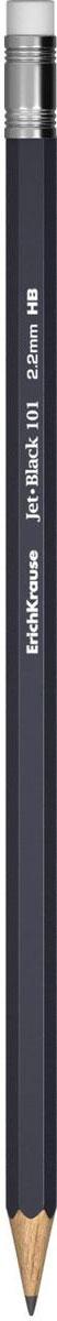 Erich Krause Карандаш чернографитный Jet Black 101 с ластиком черный 3284132841Чернографитный карандаш шестигранной формы – базовая модель в классическом дизайне. Карандаш оснащен ластиком. Прочный неломающийся грифель. Предназначен для всех категорий пользователей: от школьников до офисных работников. Диаметр грифеля 2. 2 мм, твердость HB. , упаковка - пластиковый стакан
