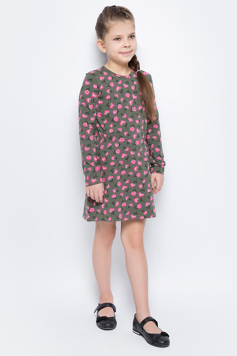 Платье для девочек United Colors of Benetton, цвет: серый, розовый, цветы. 3DY2F12N6_927. Размер 1703DY2F12N6_927