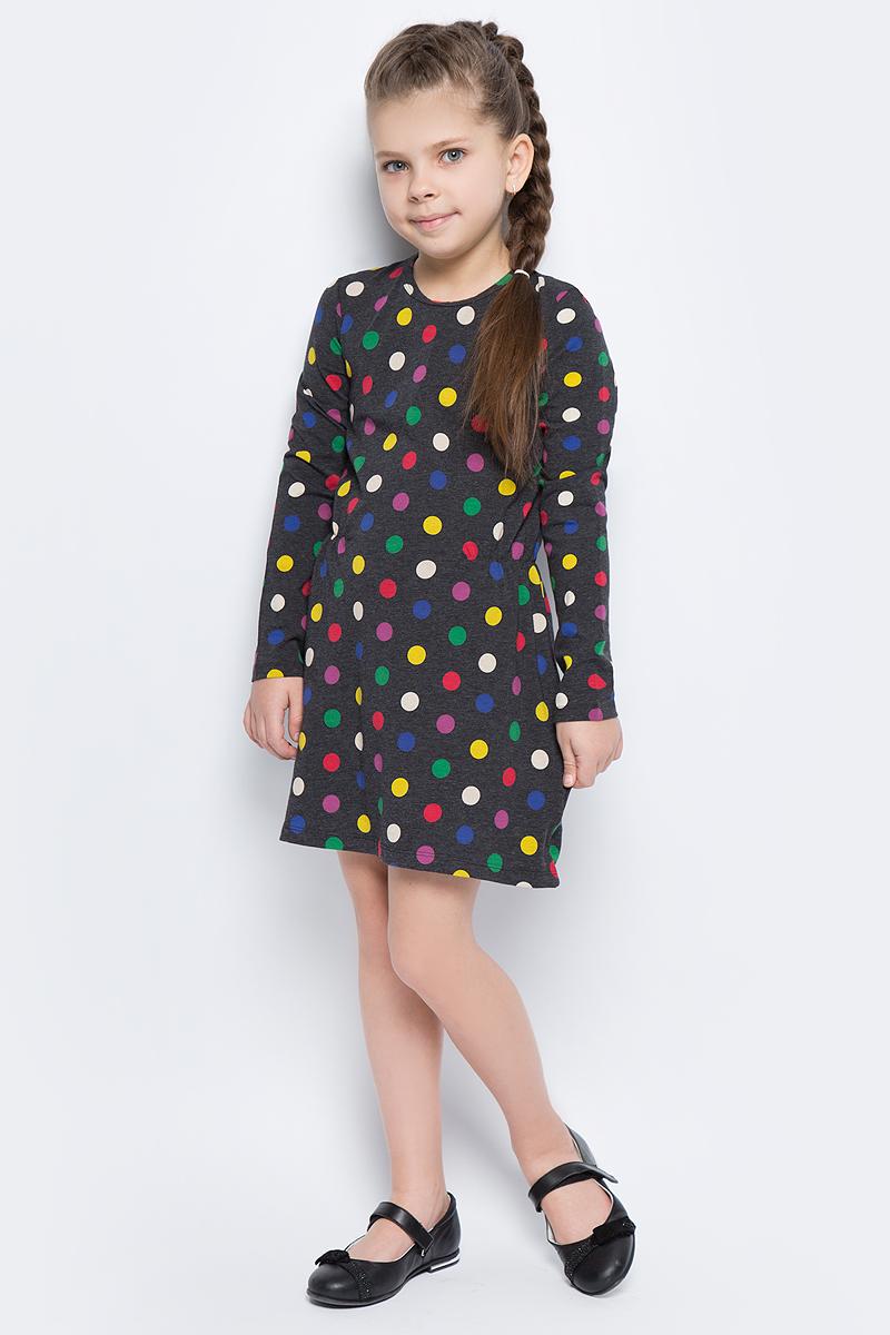 Платье для девочек United Colors of Benetton, цвет: черный, горох. 3DY2F12N6_908. Размер 1503DY2F12N6_908