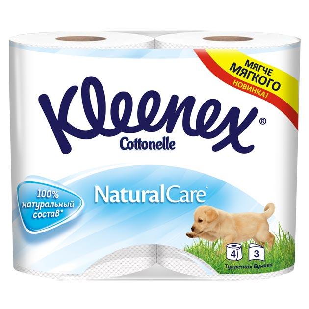 Туалетная бумага Kleenex Natural Care, трехслойная, цвет: белый, 4 рулона26083085Kleenex туалетная бумага белая Natural Care( Клинекс Нейчурал Кеа). Ослепительная белизна туалетной бумаги Клинекс ассоциируется с чистотой, стерильностью и безопасностью для здоровья. Красивая и качественная упаковка также играет важную роль, дополняя и подчеркивая качество продукта.