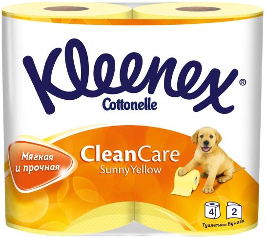 Туалетная бумага Kleenex Sunny Yellow, двухслойная, цвет: желтый, 4 рулона260830823Мягкая и нежная туалетная бумага желтого цвета изготовлена по технологии «микротиснение», придающей бумаге исключительное качество.