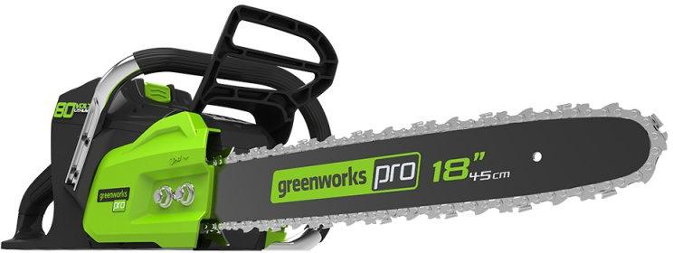 Цепная пила аккумуляторная Greenworks 80V, 45 см, бесщеточная 2000507 -  Садовая техника