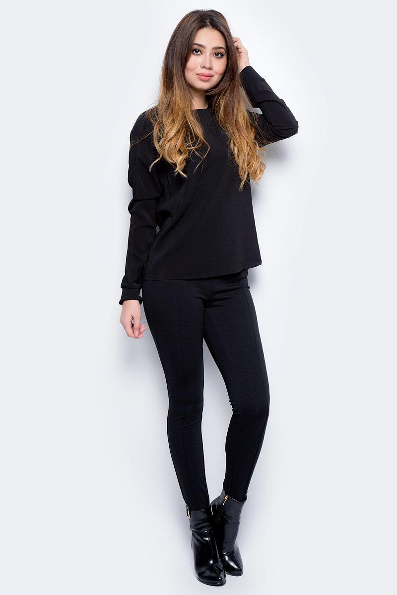 Блузка женская Vero Moda, цвет: черный. 10185384_Black. Размер L (44)10185384_BlackСтильная женская блузка, выполненная из 100% полиэстера, идеально сочетает в себе стиль и комфорт. Модель с длинными рукавами и круглым вырезом горловины имеет полупрозрачную спинку.