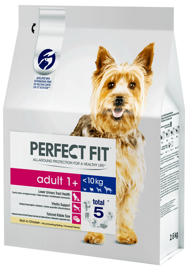 Корм сухой Perfect Fit, для взрослых собак от 1 года мелких и миниатюрных пород, с курицей, 2,6 кг овестин крем 1 мг г 15 г