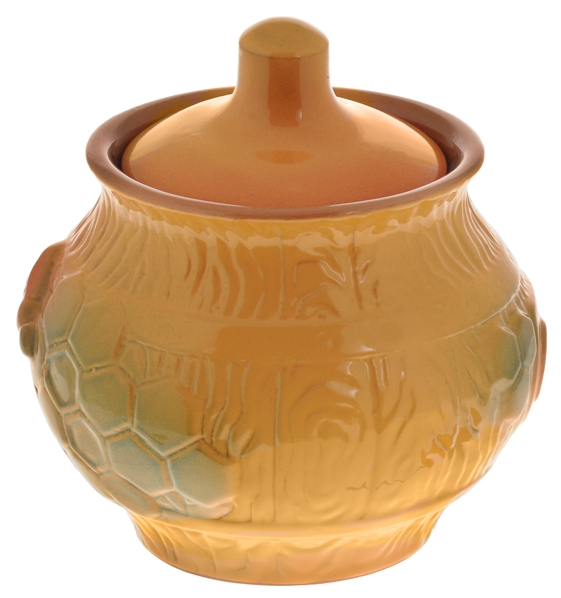 """Удобный горшочек для меда Борисовская керамика """"Русский"""", выполненный из высококачественной керамики, предназначен для хранения меда. Но универсальность керамики позволяет хранить в нем любые продукты и даже запекать. Очень оригинально смотрится в любом интерьере.   Объем: 0,6 л. Диаметр горшочка: 13,5 см. Диаметр по верхнему краю: 10 см. Диаметр основания: 8 см."""