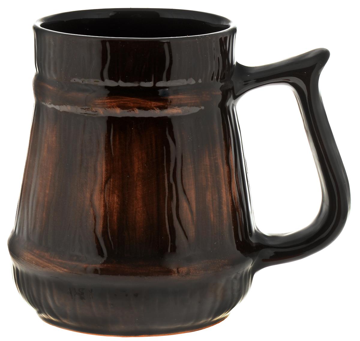 Кружка пивная Борисовская керамика Старина, цвет: темно-коричневый, 1,2 лСТР00000426Кружка пивная Борисовская керамика Старина изготовлена из высококачественной керамики и покрыта глазурью. Внешняя часть оформлена рельефом. Кружка дополнена удобной ручкой. Объем: 1,2 л.Диаметр основания: 10,5 см.Диаметр по верхнему краю: 10 см.Размер кружки с учетом ручки: 18 х 13,5 х 15 см.