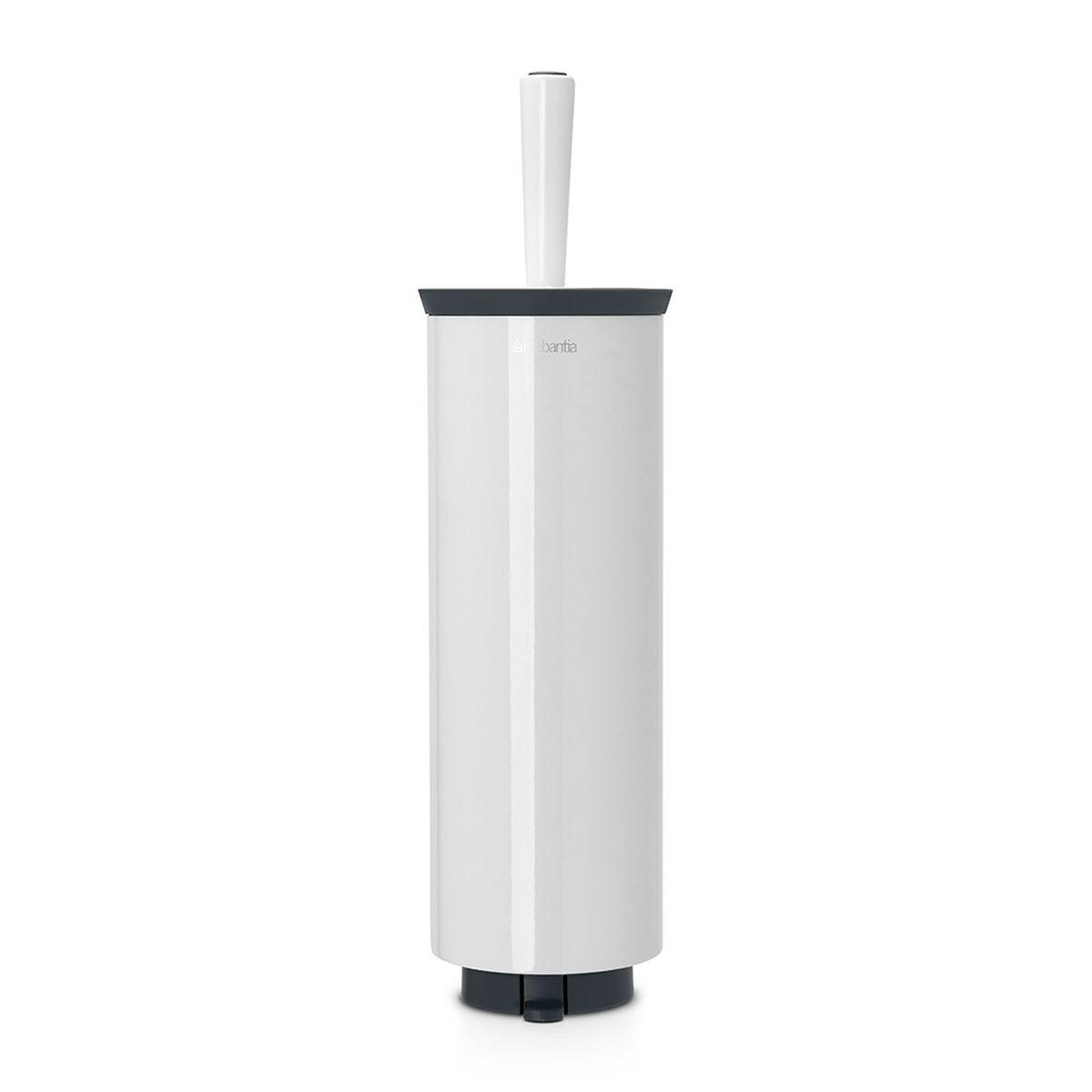 Ершик туалетный Brabantia Profile, с держателем, цвет: белый. 483325483325Ерш Brabantia Profile можно крепить к стене с помощью поставляемого в комплекте кронштейна. Так же изделие можно использовать и на полу, благодаря основанию с противоскользящими свойствами, которое предотвращает скольжение по плитке.Удобная и качественная очистка благодаря специальной форме ершика – идеальная чистота даже под ободом унитаза. Ершик эстетично спрятан под крышкой. Благодаря наличию съемного внутреннего стакана изделие гигиенично и удобно в очистке. Изделие легко снимается с настенного кронштейна для тщательной очистки поверхности стены.