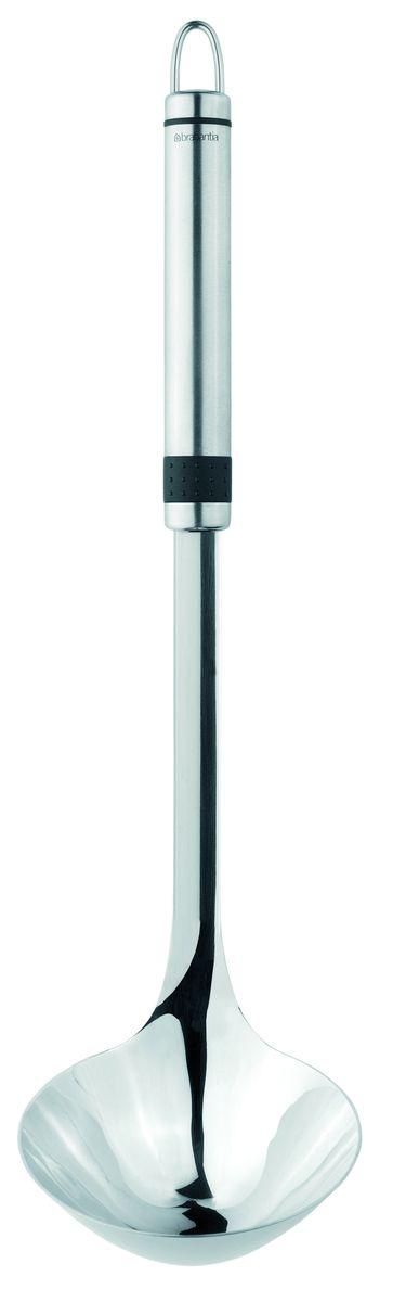 Половник Brabantia Profile, цвет: стальной матовый. 21008237618-000Удобен в использовании благодаря длинной ручки.Бесшовная конструкция – гигиеничность и удобство очистки.Долговечный и экологически безопасный материал – нержавеющая сталь.Подходит для мытья в посудомоечной машине.Имеется сочетающийся по стилю настенный держатель (рейлинг). Продается отдельно.
