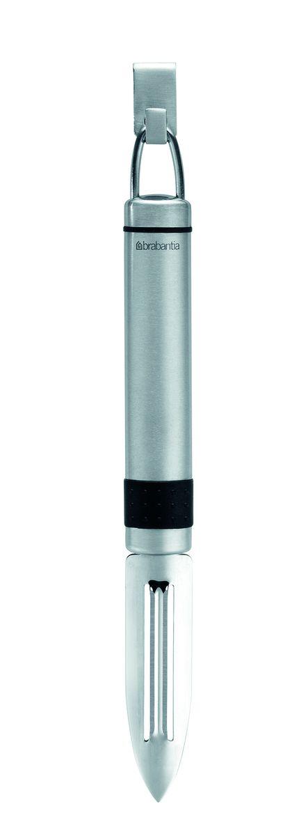 Нож для чистки Brabantia Profile, цвет: стальной матовый. 210969210969Идеально подходит для малоотходной чистки моркови, огурцов, яблок и других плодов. Двустороннее лезвие из нержавеющей стали со специальным кончиком для вырезания глазков. Может использоваться левой или правой рукой. Подходит для мытья в посудомоечной машине. Имеется сочетающийся по стилю настенный держатель (рейлинг). Продается отдельно.