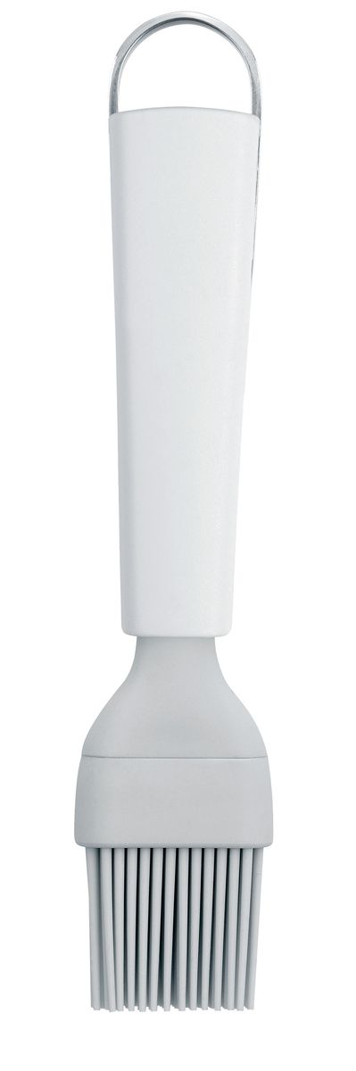 Кисть кондитерская Brabantia Essential, цвет: белый. 400384400384Гибкая термостойкая силиконовая кисть (макс. 280°C).Изделие гигиенично и удобно в очистке.Ручка из прочного пластика с петелькой для подвешивания из нержавеющейстали.Подходит для мытья в посудомоечной машине.Имеется сочетающийся по стилю настенный держатель (рейлинг).