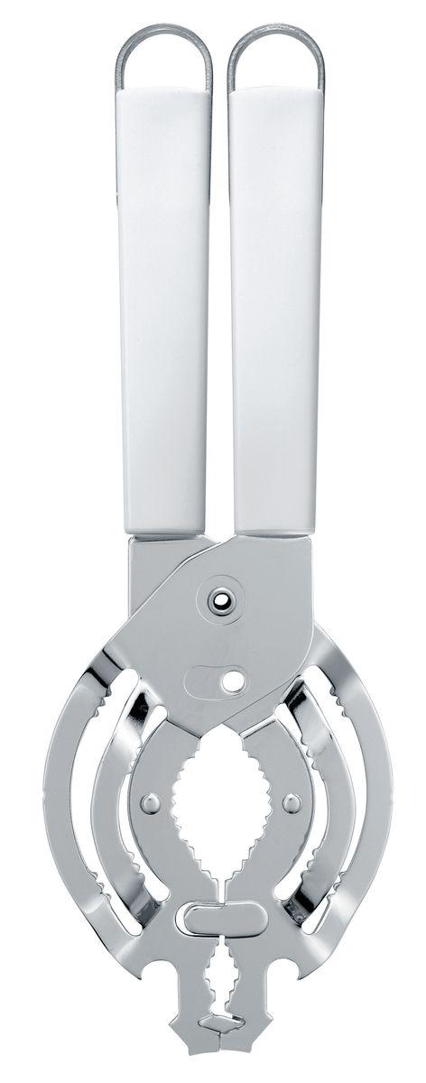 Открывалка универсальная Brabantia Essential, цвет: белый. 400605400605Открывает без усилий практически любые банки с крышками диаметром от 10 до 100 мм. Открывает консервные банки и бутылки. Может использоваться левой и правой рукой, подходит для маленьких рук. Ручка из прочного пластика с петелькой для подвешивания из нержавеющей стали. Подходит для мытья в посудомоечной машине. Имеется сочетающийся по стилю настенный держатель (рейлинг). В комплект не входит.