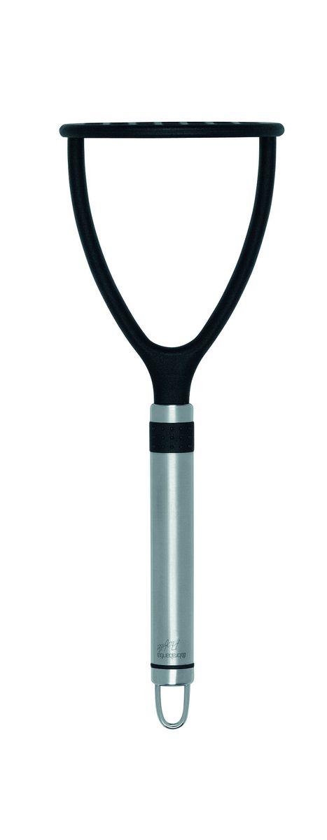 Картофелемялка Brabantia Profile, цвет: стальной матовый, черный. 363764363764Не царапает посуду с антипригарным покрытием – эластичный пластик исглаженные формы.Имеет длительный срок службы – высококачественный огнеупорный нейлон (макс.220°C).Ручка из нержавеющей стали с петелькой для подвешивания.Бесшовная конструкция – гигиеничность и удобство очистки.Подходит для мытья в посудомоечной машине.Имеется сочетающийся по стилю настенный держатель (рейлинг). В комплект невходит.