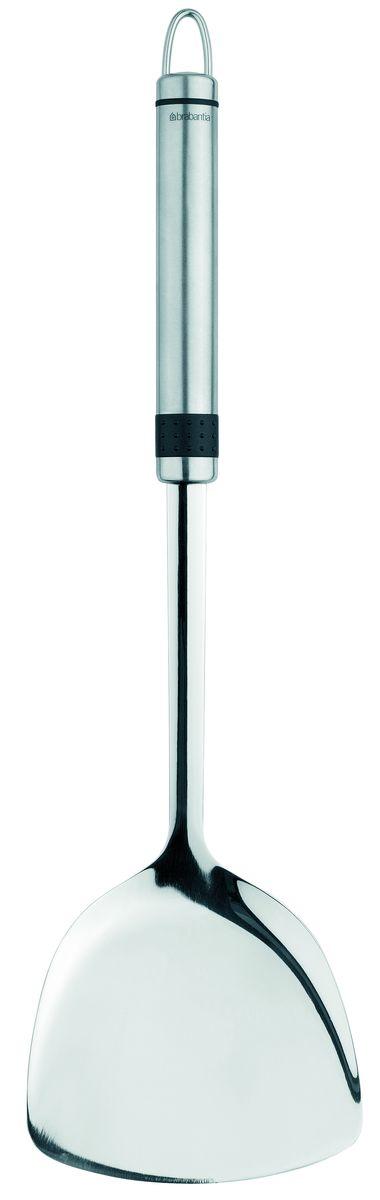 Лопатка Brabantia Profile, цвет: стальной матовый. 381461381461Бесшовная конструкция – гигиеничность и удобство очистки.Долговечный и экологически безопасный материал – нержавеющая сталь.Подходит для мытья в посудомоечной машине.Имеется сочетающийся по стилю настенный держатель (рейлинг). Продается отдельно.