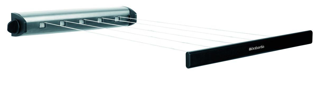Сушилка для белья Brabantia, вытяжная, цвет: стальной матовый, 22 м. 385766385766-BRНавеска – 22 метра, нагрузка – 2,5 кг на бельевую веревку.Экономия места – компактная настенная вытяжная сушилка для белья.Удобна в использовании – веревки легко вытягиваются благодаряавтоматической системе вытяжения.Всегда туго натянутые веревки – автоматическая система фиксации.Подходит для использования в ванной комнате – изготовлена изкоррозионностойких материалов.Удобно крепится между двух стен (макс. 4,4 м).В комплекте крепежная фурнитура и инструкция по установке.