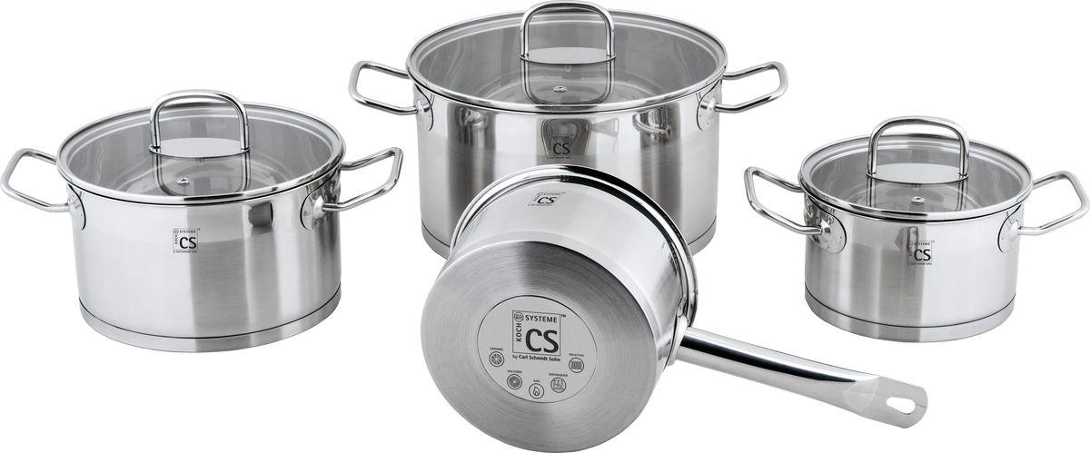 Набор посуды Cs-Kochsysteme Herten, 7 предметов060787Набор посуды HERTEN из нержавеющей стали с зеркальной полировкой состоит из 7 предметов (кастрюля D16 с крышкой, кастрюля D20 с крышкой, кастрюля D24 с крышкой, ковш D16). Посуда серии HERTEN подходит для использования на всех типах варочных поверхностей (в том числе индукционных), 7 предметов в подарочной коробке