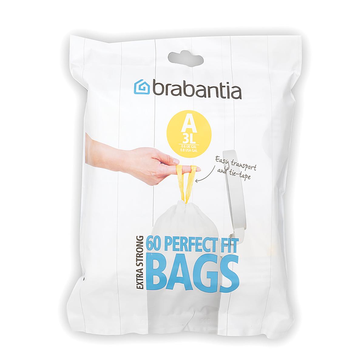 Мешки для мусора Brabantia, 3 л, 60 шт. 348983348983-BRУдобно и быстро вкладываются и достаются из бака.Эстетичный вид – идеально подходят по размеру к мусорным бакам Brabantia, мешок не выступает наружу.Уникальная цветовая маркировка позволяет выбрать мешки нужного размера.Вентиляционные отверстия для удобства вкладывания в бак.Изготовлены из особо прочного полиэтилена (HDPE).Легко затягиваются и переносятся – специальная лента для стягивания горловины.Упаковка: 60 мешков в рулоне.