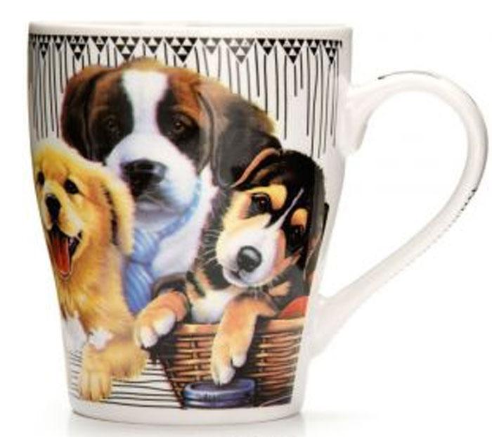 Кружка Loraine Собаки с галстуком, цвет: белый, 340 мл. 2656626566_с галстукомКружка Loraine Собаки с галстуком, цвет: белый, 340 мл. 26566