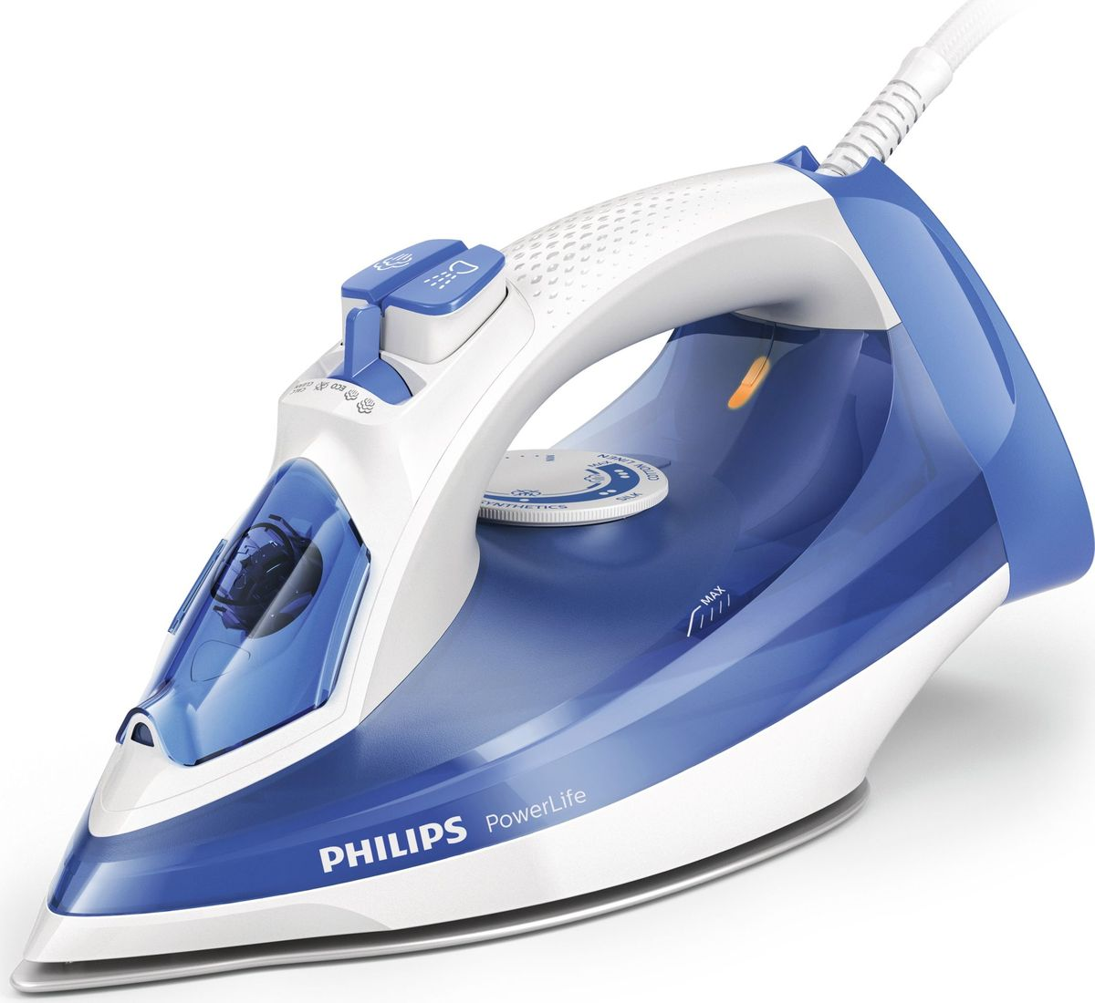 Philips GC2990/20 PowerLife, White Blue утюгGC2990/20Создан для работы, день за днём. Чтобы результаты глажения радовали вас день за днём, необходим надёжный утюг. Этот высококачественный утюг с подошвой SteamGlide, защищенной от царапин, и встроенной функцией очистки от накипи обеспечивает стабильную мощную подачу пара и долговечность. Подошва SteamGlide прослужит в 4 раза дольше по сравнению с обычной антипригарной подошвой. Быстрое и мощное разглаживание складок: 2300 Вт для быстрого нагрева Паровой удар до 140 г для легкого разглаживания жестких складок Подача пара до 40 г/мин для лучшего разглаживания складок Вертикальное отпариваниеВысококачественная подошва SteamGlide с защитой от царапин Удобная очистка от накипи для оптимальной подачи пара надолго Система капля-стоп предотвращает протекание воды на одежду