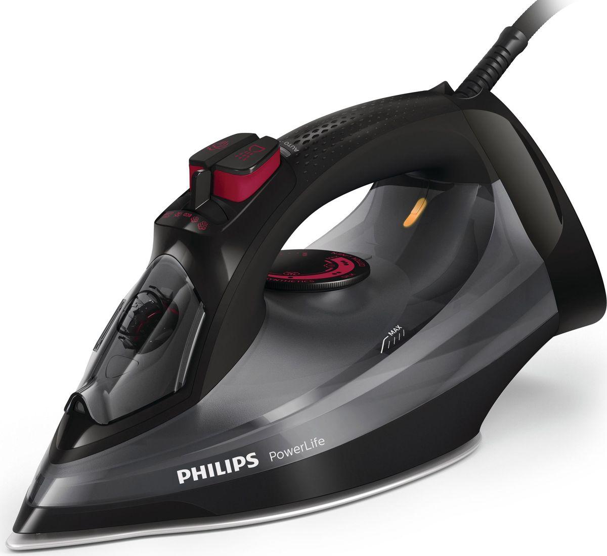 Philips GC2998/80 PowerLife, Black Dark Gray утюгGC2998/80Создан для работы, день за днём. Чтобы результаты глажения радовали вас день за днём, необходим надёжный утюг. Этот высококачественный утюг с подошвой SteamGlide, защищенной от царапин, и встроенной функцией очистки от накипи обеспечивает стабильную мощную подачу пара и долговечность. Подошва SteamGlide прослужит в 4 раза дольше по сравнению с обычной антипригарной подошвой.Быстрое и мощное разглаживание складок:2400 Вт для быстрого нагреваПаровой удар до 170 г для легкого разглаживания жестких складокПодача пара до 45 г/мин для лучшего разглаживания складокВертикальное отпаривание для удаления складокВысококачественная подошва SteamGlide с защитой от царапинУтюг автоматически выключается, если оставлен без присмотраСистема капля-стоп предотвращает протекание воды на одежду