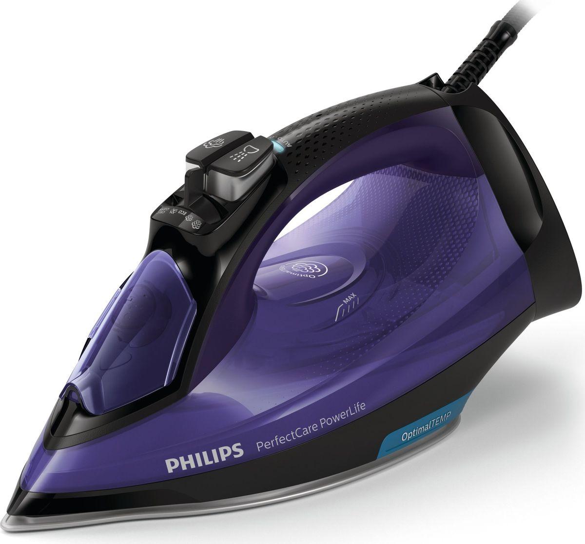Philips GC3925/30 PerfectCare, Purple Black утюгGC3925/30Быстрее и проще, без необходимости регулировки температуры! 100% бережный уход даже для деликатных тканей. Глажение любых тканей - от джинсовых до шёлковых - без изменения настроек. Технология OptimalTEMP обеспечивает идеальное сочетание мощного пара и температуры, позволяя быстро разгладить складки без риска прожечь ткань или оставить блестящие следы. Оставлять утюг с нагретой подошвой на гладильной доске теперь безопасно. Глажение еще никогда не было таким лёгким и быстрым! Простое глажение без необходимости регулировки температуры:Гладьте любые ткани — от джинсовых до шелковых — без регулировки температурыПротестировано и одобрено экспертами в области текстиляСамая быстрая подошва: SteamGlide Plus2500 Вт для быстрого нагрева и безупречного глаженияПодача пара до 45 г/мин для лучшего разглаживания складокПаровой удар до 180 г для легкого разглаживания жестких складокУтюг автоматически выключается, если оставлен без присмотра