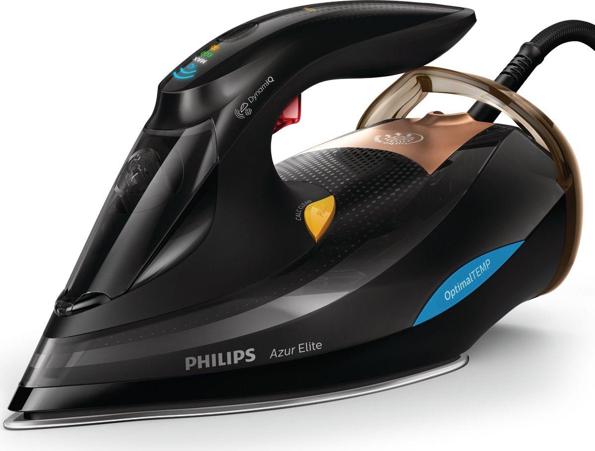 Philips GC5033/80 Azur Elite, Black утюгGC5033/80Наш самый удобный и мощный паровой утюг - интеллектуальная подача пара исключает риск прожечь ткань. Мощный интеллектуальный утюг длябыстрого достижения превосходных результатов. Технология OptimalTEMP позволяет гладить любые ткани - от джинсовых до шёлковых - безрегулировки температуры и без риска прожечь ткань, а благодаря режиму DynamiQ прибор подаёт оптимальное количество пара тогда, когда этотребуется. Интеллектуальное, максимально комфортное глажение: Удобные режимы подачи пара: DynamiQ, MAX, ECO и OFF Режим DynamiQ: интеллектуальная подача пара для идеальных результатов 3000 Вт для быстрого нагрева и безупречного результата Благодаря интенсивной подаче в ткань проникает больше пара Подача пара до 65 г/мин для ускоренного разглаживания складок Паровой удар до 250 г для разглаживания жестких складок Подошва SteamGlide Advanced: долговечность и превосходное скольжение Специальная функция выключает оставленный без присмотра утюг