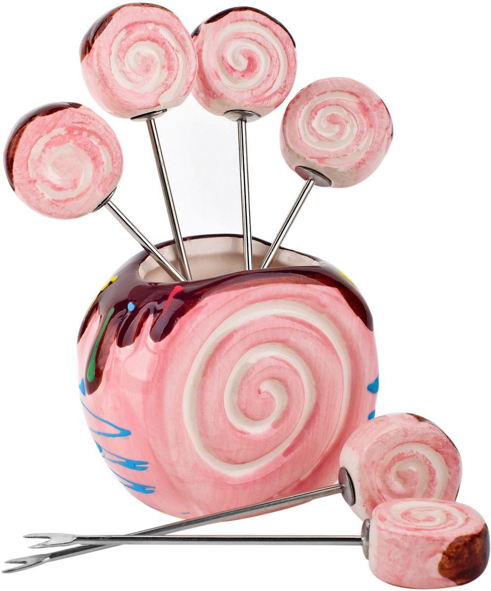 Подставка для канапе Elff Decor Бисквит, цвет: розовый, 7 х 4 х 10 см поднос сервировочный elff decor цвет золотой