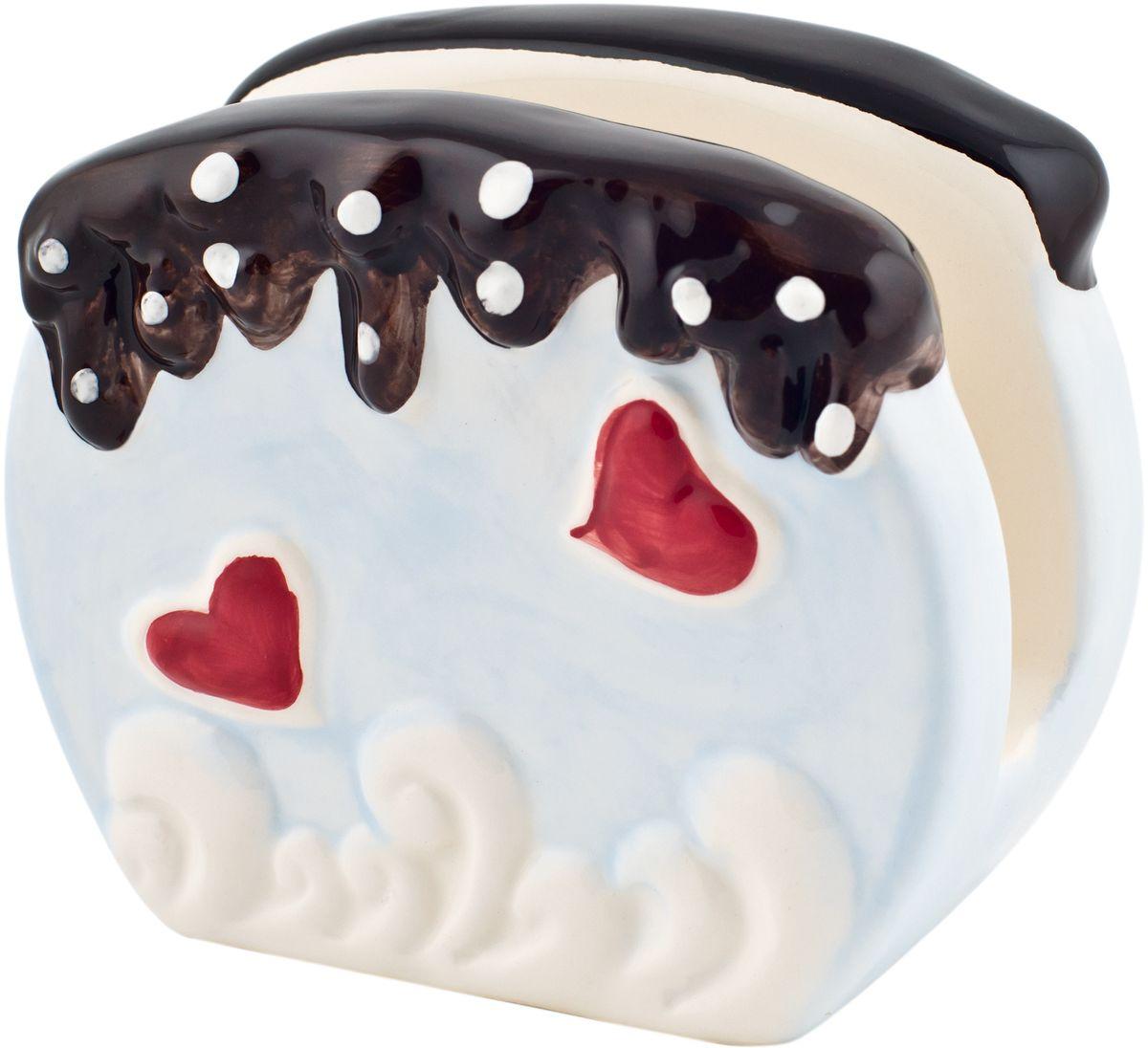 Салфетница Elff Decor, цвет: мультиколор, 7 х 10 х 9 см210-010Салфетница Elff Decor изготовлена из керамики и оформлена принтом. Такая салфетница великолепно украсит праздничный стол.