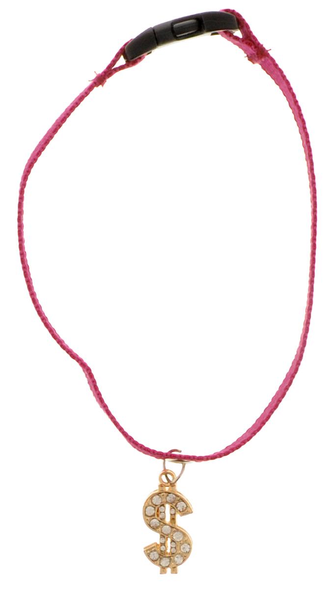 Ошейник для собак GLG Доллар, с подвеской, цвет: вишневый, размер 1 х 28 смOH07/C_вишневый, доллар
