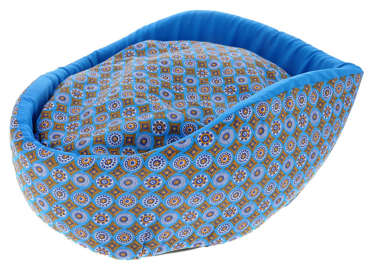 Лежак для животных GLG Фигурный, цвет: голубой, белый, оранжевый, 48 х 39 х 21 см7294_бежевыйЛежак для кошек и собак GLG Фигурный обязательно понравится вашему питомцу. Изделие выполнено из хлопка и полиэстера, внутренняя поверхность дополнена оригинальным рисунком. Наполнитель из поролона прекрасно держит форму бортиков. Основание изготовлено из нетканого материала.Лежак оснащен съемной подушкой с мягким синтепоном внутри. Высокие фигурные бортики обеспечат вашему любимцу уют.Такой лежак станет излюбленным местом вашего питомца, подарит ему спокойный и комфортный сон, а также убережетвашу мебель от шерсти.