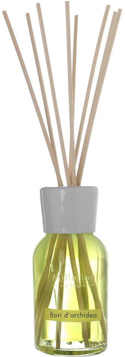 Диффузор ароматический Millefiori Milano Natural, цветы орхидеи, с палочками, 100 мл диффузор ароматический millefiori milano natural ваниль и дерево с палочками 250 мл