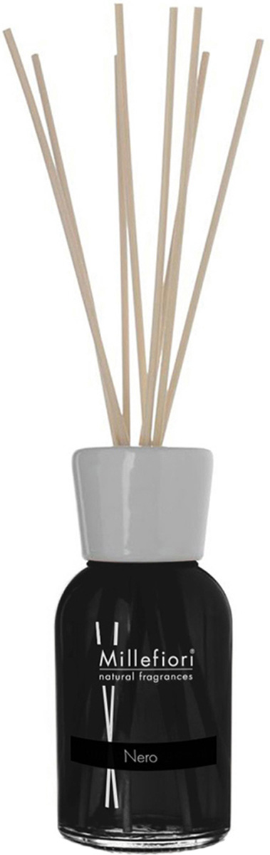 Диффузор ароматический Millefiori Milano Natural, черный, с палочками, 250 мл диффузор ароматический millefiori milano natural ваниль и дерево с палочками 250 мл
