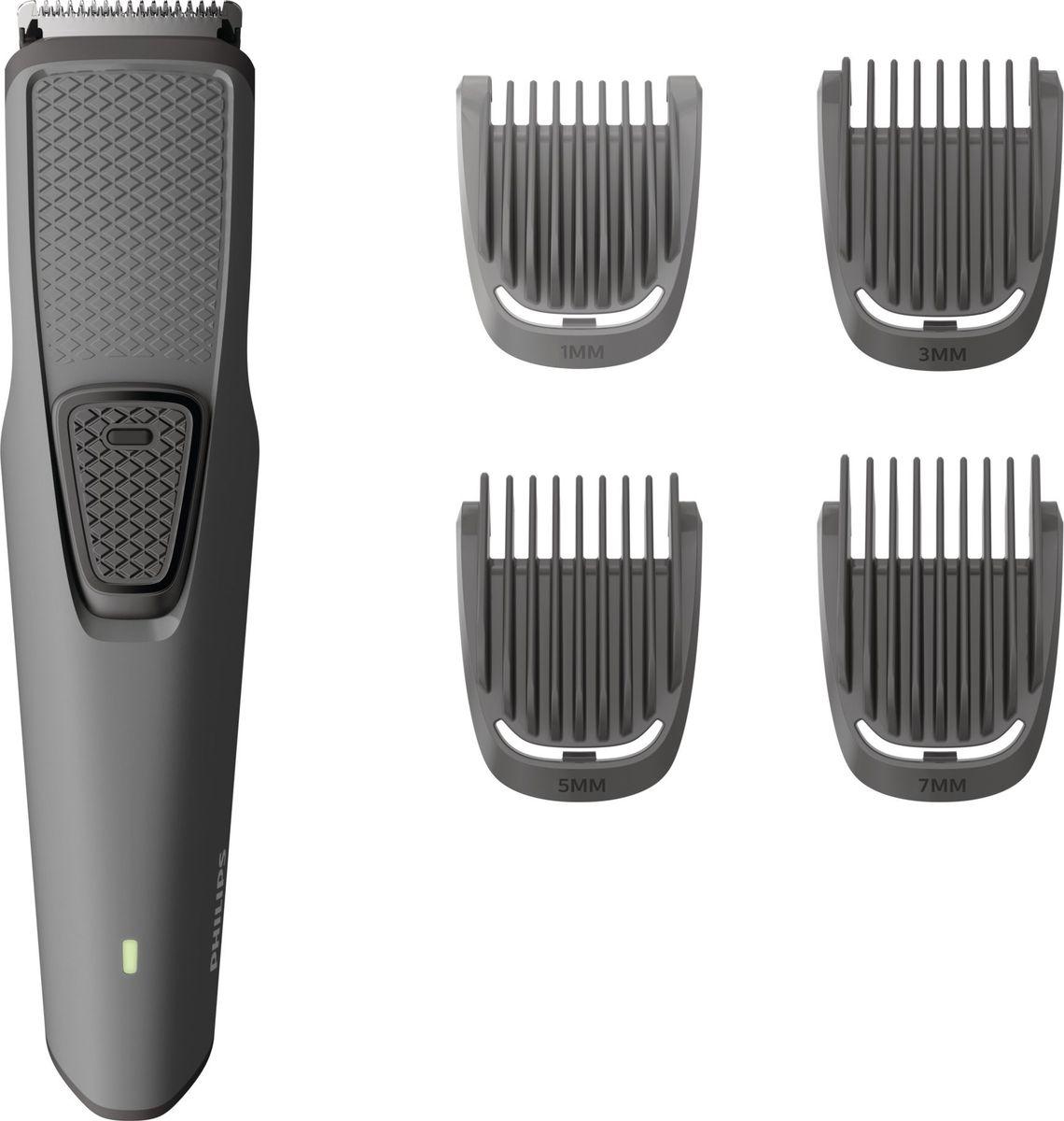 Philips BT1216/10, Dark Gray триммер для бородыBT1216/10Стабильная работа день за днём. Этот триммер предназначен для зарядки через USB-кабель, полностью заряжается в течение 8 часов и работает до 60 минут. Лезвия из нержавеющей стали с безопасными для кожи закруглёнными зубцами являются самозатачивающимися и будут работать без проблем так же, как и в 1-й день работы и не потребуют смазки в течение всего срока службы. Блокировка случайного включения и чехол буду удобны в путешествиях. Эргономичный дизайн корпуса. Легко использовать Выберите нужную длину: подравняйте бороду до 1/3/5/7 мм или до минимальной длины До 60 минут автономной работы после 8 часов зарядки Удобная зарядка через USB Индикаторы уведомляют о низком уровне заряда аккумулятора, а также о выполнении зарядкиСъемная насадка упрощает очистку