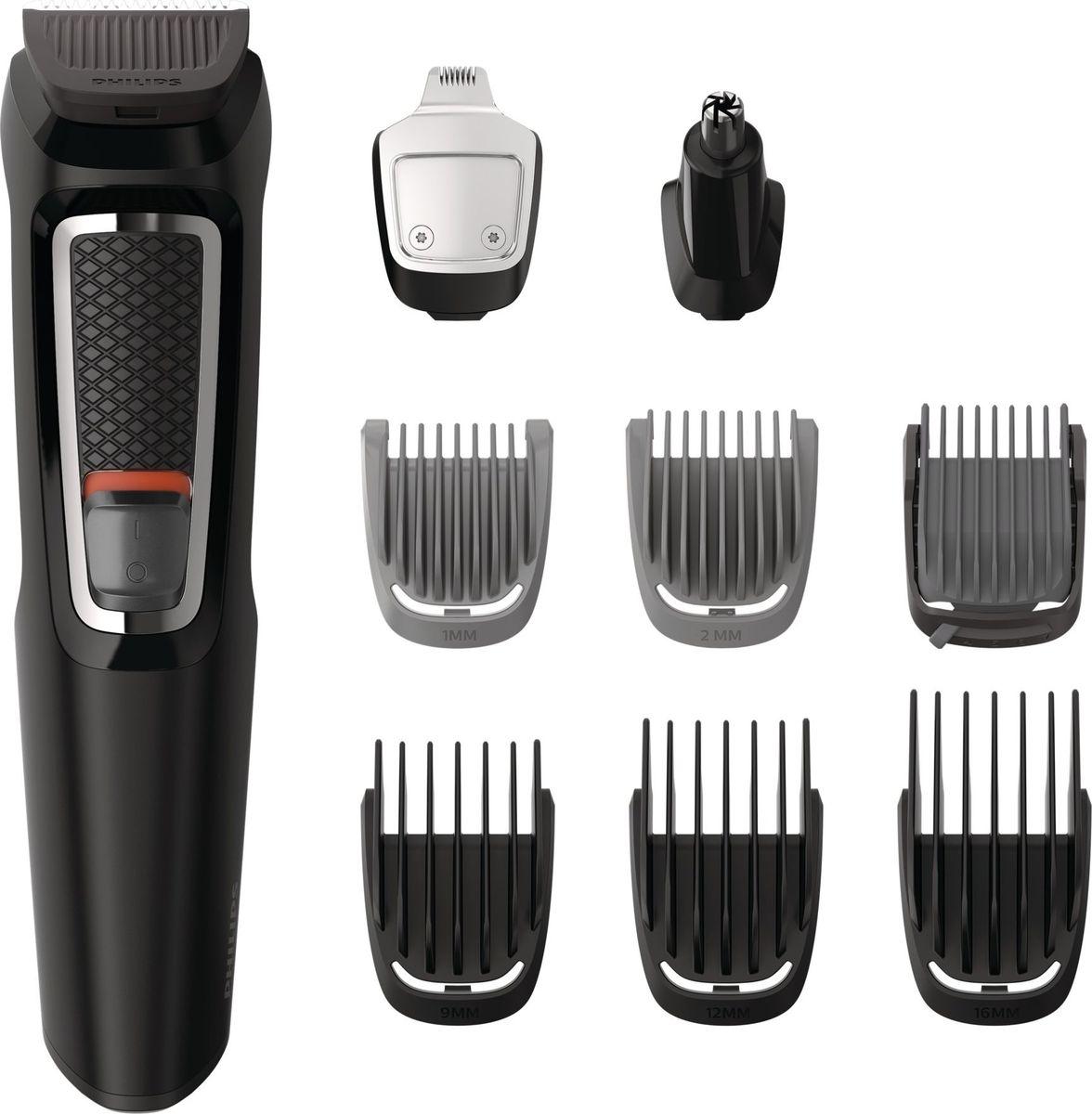 Philips MG3740 триммер 9 в 1 для волос на голове и лицеMG3740/15Универсальный триммер 9-в-1. Вы в любое время можете сменить свой образ, используя этот надёжный универсальный триммер с 9-ю принадлежностями для лица и волос - он позволяет в точности воплотить задуманное. Чехол для удобства при хранении и в путешествиях в комплекте.Универсальность и легкость использования:Подравнивайте волосы на голове и лице и создавайте свой стиль с 9 принадлежностямиТриммер стрижет волосы и создает контуры бороды для завершения образаМеталлический триммер для контуров создает идеальные линии бороды или эспаньолкиТриммер для носа бережно удаляет нежелательные волоски в носу и ушах6 гребней для подравнивания волос на лице и головеДо 60 минут автономной работы после зарядкиНасадки удобно промывать