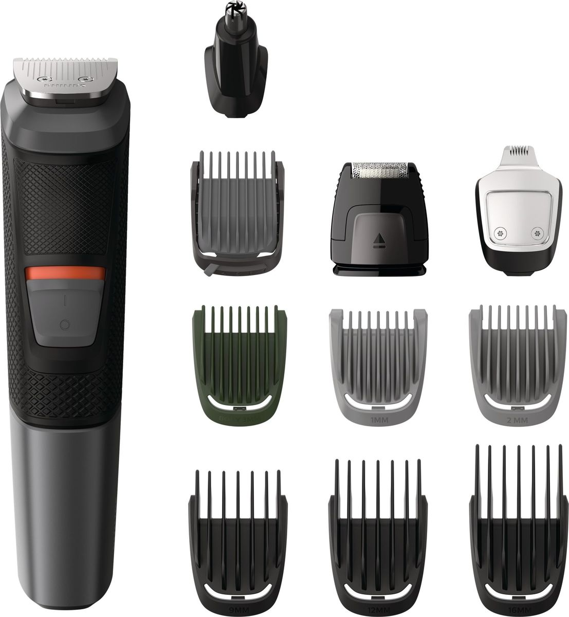 Philips MG5730 триммер 11 в 1 для волос на голове, лице и телеMG5730/15Высокая точность и превосходный стайлинг. Многофункциональный триммер 11-в-1. Создайте неповторимый образ, используя этот универсальный триммер с 11-ю насадками для стрижки волос на голове, лице и теле. Лезвия DualCut (удвоенное количество режущих элементов) гарантируют максимальную точность, а благодаря нескользящей прорезиненной ручке триммер удобно перемещать и легко держать в руке.Универсальность и легкость использованияМеталлический триммер точно моделирует бороду и подравнивает волосы на голове и телеВысокоточная бритва создает идеальный контур на щеках, подбородке и шееМеталлический триммер для контуров создает идеальные линии бороды или эспаньолкиТриммер для носа бережно удаляет нежелательные волоски в носу и ушах7 гребней для подравнивания волос на лице, голове и телеДо 80 минут автономной работы после зарядкиВодонепроницаемость для удобной очистки под струей водыЧехол для удобства при хранении и в путешествиях