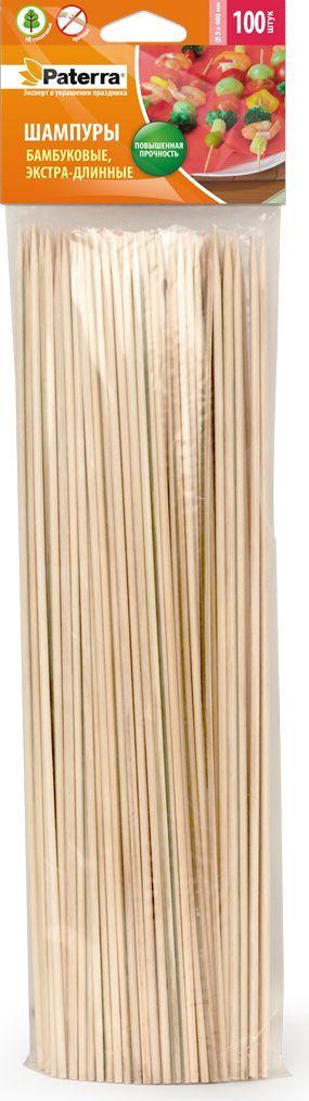 Шампуры для шашлыка Paterra, бамбук, 40 см, 100 шт пики для канапе paterra зонтик 30 шт