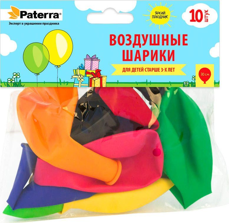 Воздушные шарики  Paterra , 30 см, круглые, 10 шт -  Воздушные шарики