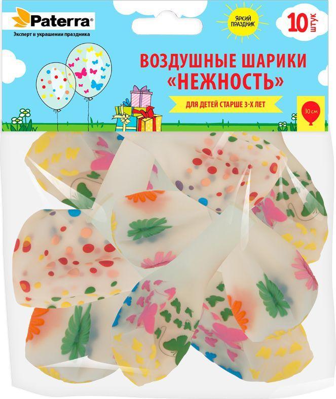 Воздушные шарики Paterra  Нежность , 30 см, круглые, прозрачные, 10 шт -  Воздушные шарики
