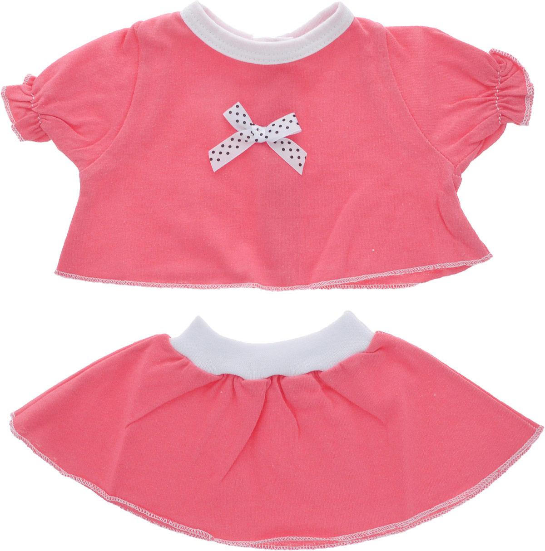 Карапуз Комплект одежды для куклы Футболка и юбка цвет коралловый