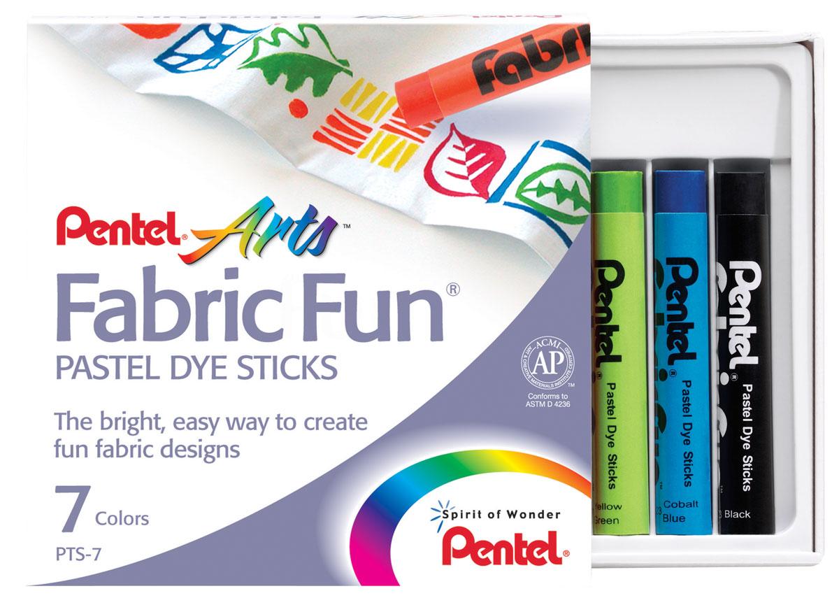 Pentel Краска для ткани FabricFun Pastels 7 цветовPTS-7Пастельные мелки для рисования на любых натуральных тканях. В картонной упаковке размещено 7 мелков. Будь то футболка, юбка, пляжная сумка, фартук или даже кеды, с помощью пастели Fabric Fun вы придадите вещи новое дыхание. Для создания сложных оттенков можно пальцами или мягкой тканью смешивать нанесенные цвета.Чтобы ваше законченное творение выдержало воздействие воды (дождь, влажную погоду или многократные стирки), нужно закрепить рисунок горячим утюгом. Для этого положите сверху рисунка лист белой бумаги и прижмите его несколько раз горячим утюгом. Температуру утюга подбирайте исходя из состава ткани. Если Вы допустили ошибку или рисунок не удался то, до его термозакрепления быстро постирайте ткань и начинайте рисовать снова!Пастель Fabric Fun изготовлена из натуральных компонентов и не содержит вредных примесей. Соответствует европейскому стандарту качества EN71, утвержденному для детских товаров.