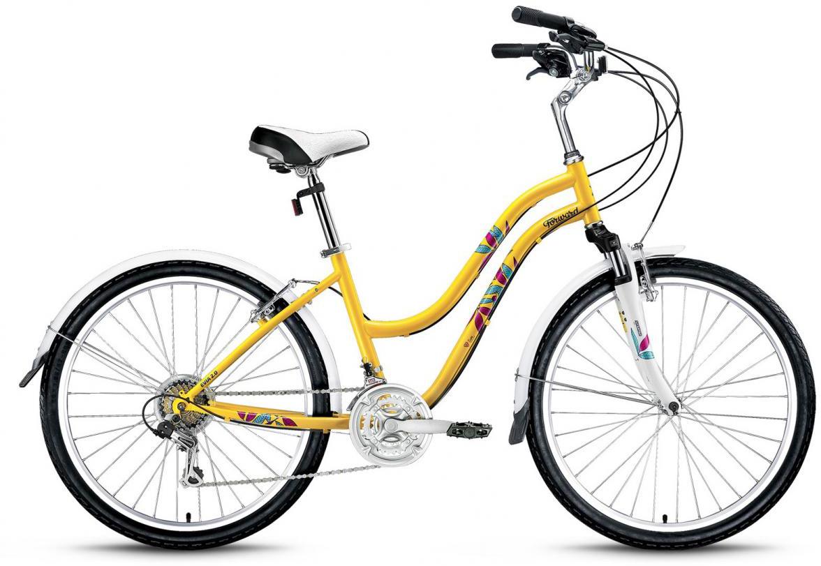 Велосипед городской Forward Evia 2.0 2016, цвет: желтый, рама 16, колесо 26275350