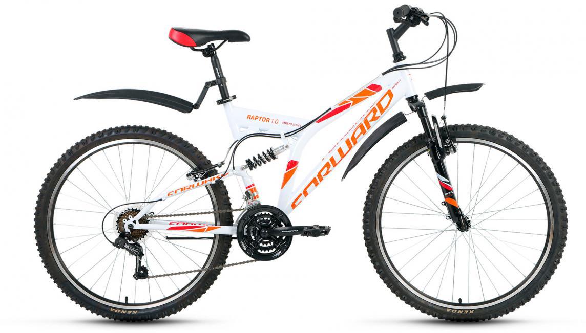 Велосипед горный Forward Raptor 1.0 2017, цвет: белый, рама 16, колесо 26 велосипед forward raptor 2 0 disc 26 21 ск рост 16 2013 2014 черный rbkw4sn6q014