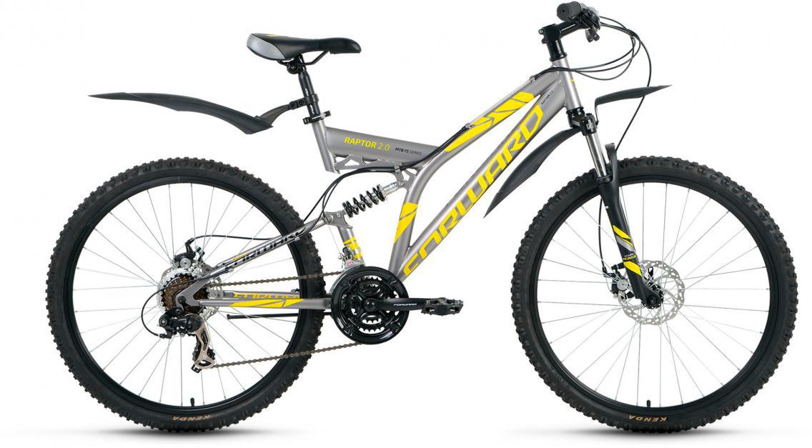 Велосипед горный Forward Raptor 2.0 2017, цвет: серый, рама 16, колесо 26 велосипед forward raptor 2 0 disc 26 21 ск рост 16 2013 2014 черный rbkw4sn6q014