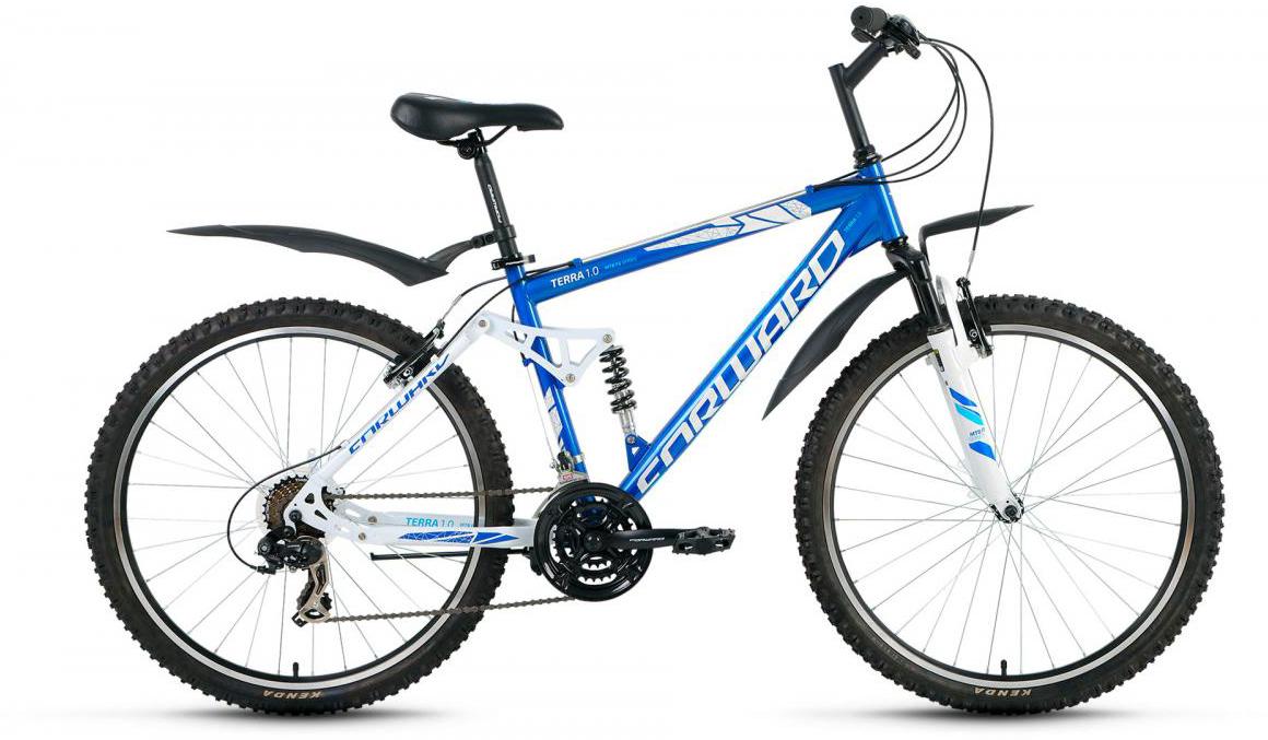 Велосипед горный Forward Terra 1.0 2017, цвет: синий, рама 18, колесо 26 велосипед forward terra 2 0 disc 18 2017 black white