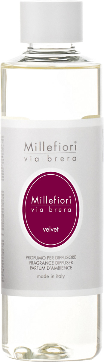 Ароматизатор Millefiori Milano Via Brera, вельвет, сменный блок, 250 мл ароматизатор millefiori milano via brera сандаловое дерево сменный блок 250 мл